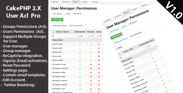 CodeCanyon CakePHP 2.x User & Acl Management Pro 4318336