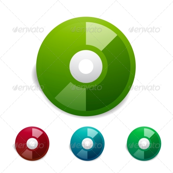 Colorful CD Icon Set - Computers Technology