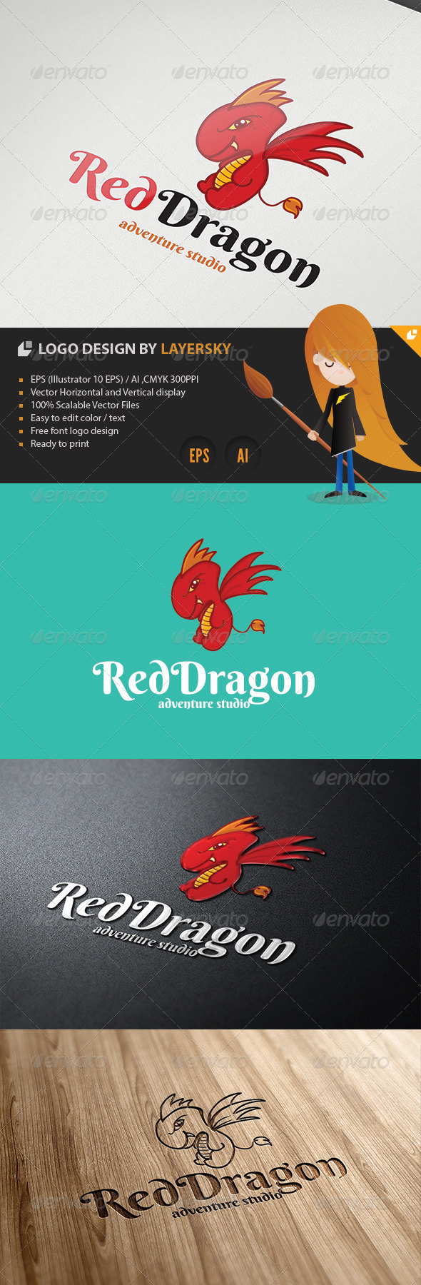 GraphicRiver Red Dragon Logo 4320630