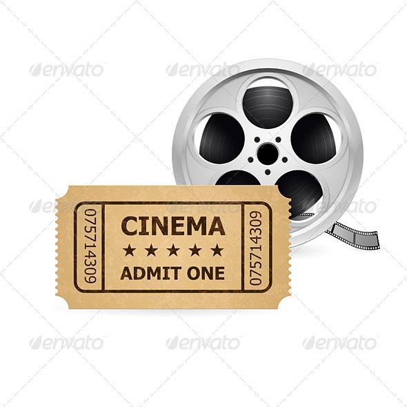GraphicRiver Retro Cinema Ticket and Babin 4320682