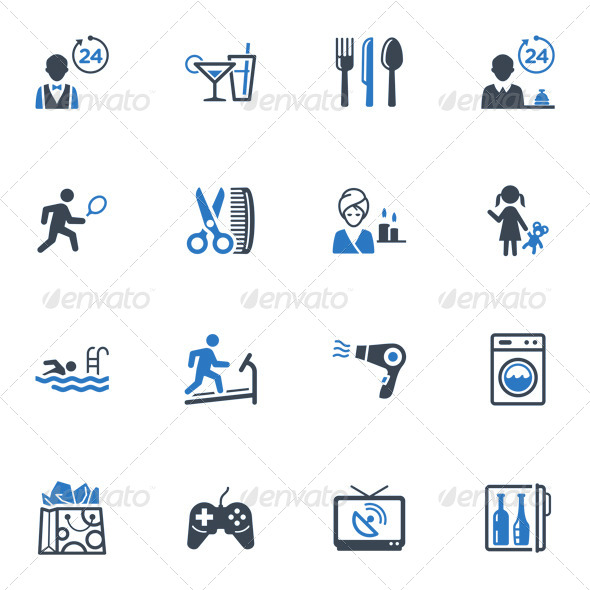Hotel Services and Facilities Icons, Set 2 - Blue - Icons