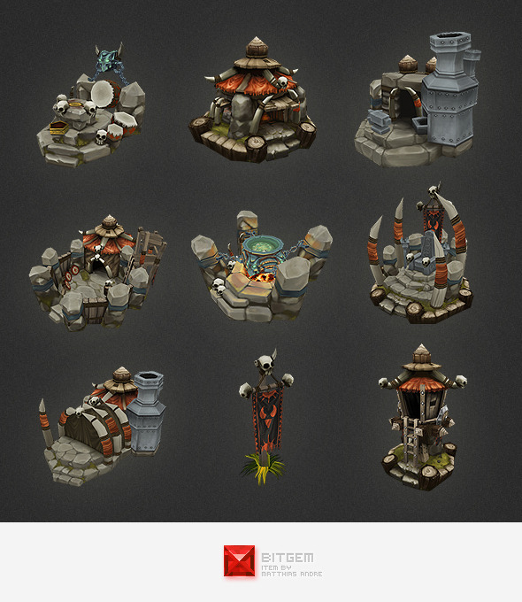 3DOcean Low Poly RTS Orc Building Set 4320923