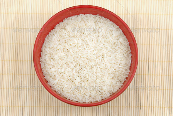 Rice in Red Bowl - Stock Photo - Images