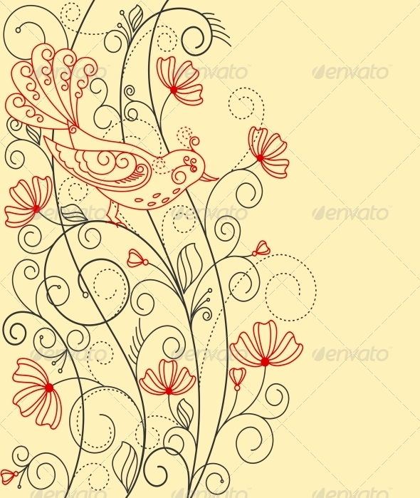 GraphicRiver Abstract Floral Background with Bird 4322529