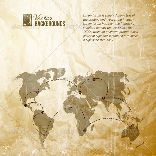 GraphicRiver World Map in Vintage Pattern 4324212