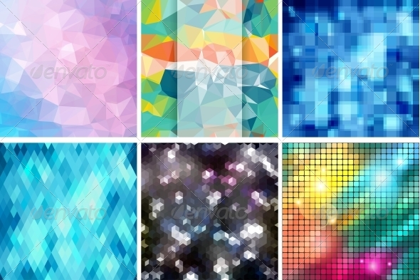 GraphicRiver Mosaic Abstract Backgrounds with and Patterns 4325641