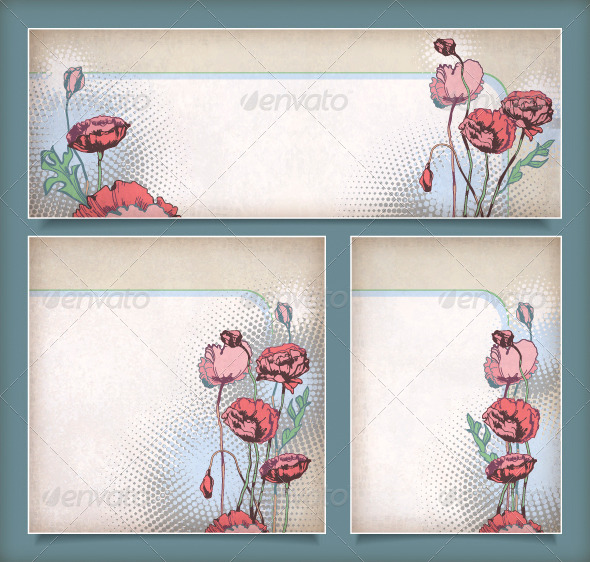 GraphicRiver Set of Vintage Flower Banners 4329106