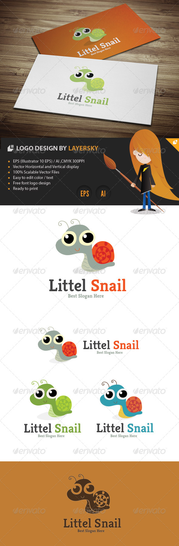GraphicRiver Little Snail Logo 4329564