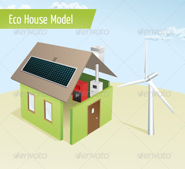Eco House Model - Objects Vectors