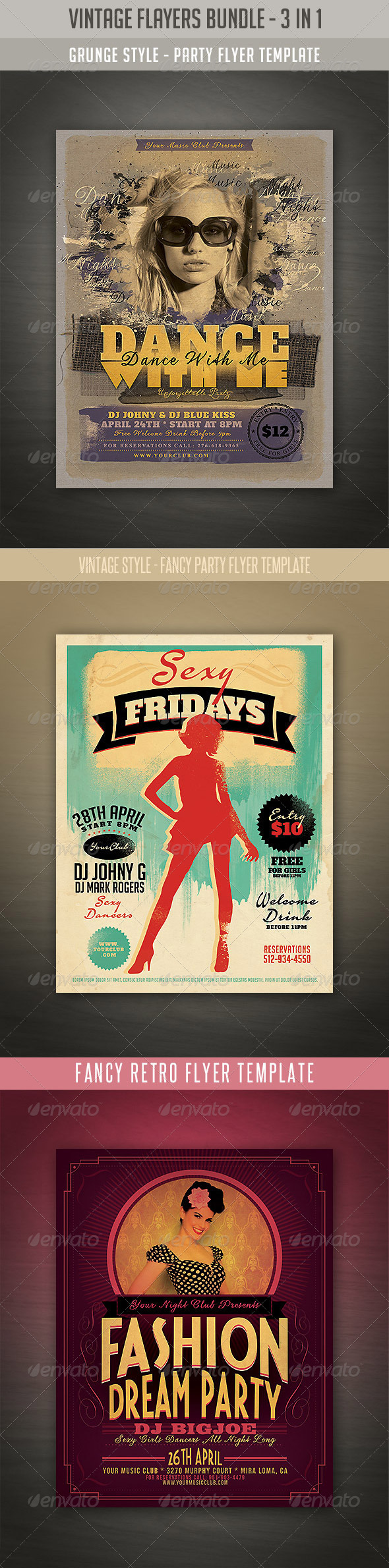 Vintage Style Flyers Bundle - Events Flyers