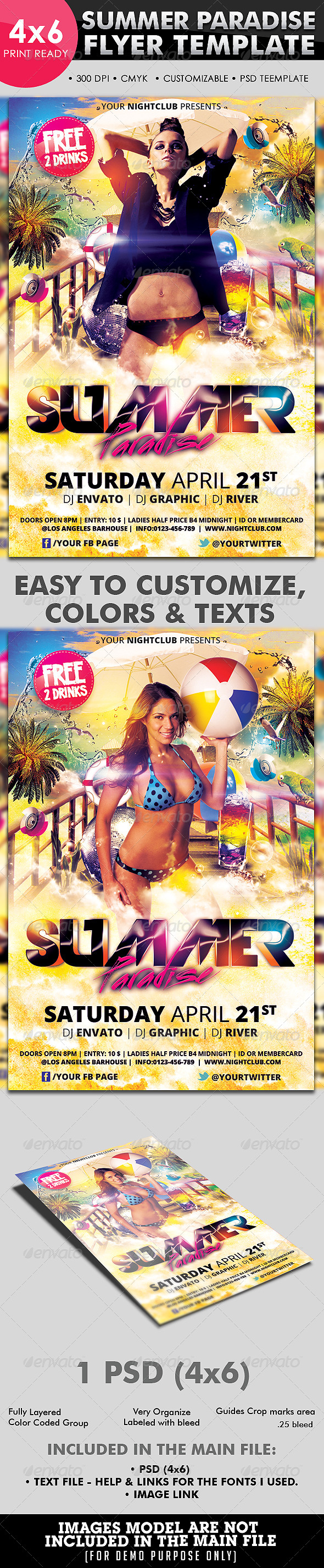Summer Paradise Flyer Template - Clubs & Parties Events