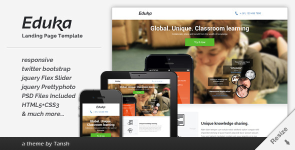 Eduka Responsive HTML Landing Page Template - Business Corporate