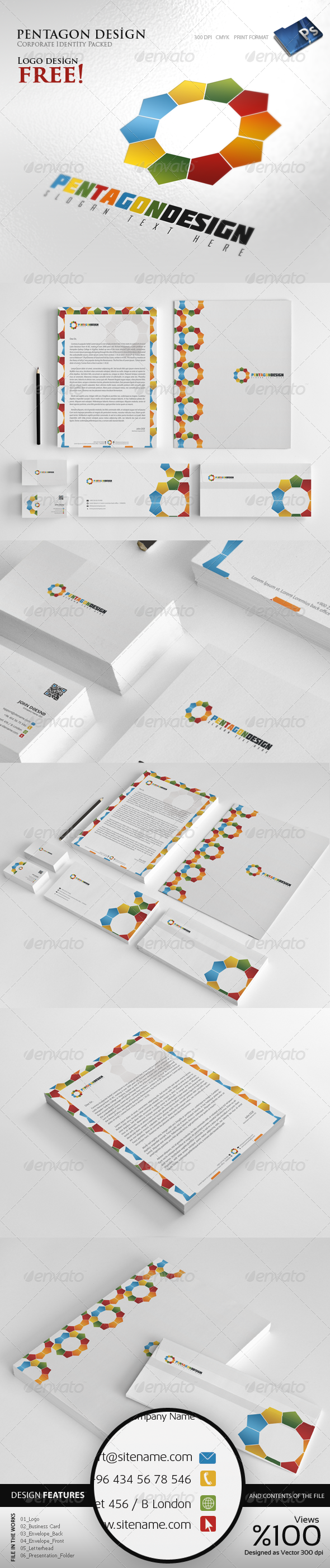 Pentagon Design - Corporate identity - Stationery Print Templates