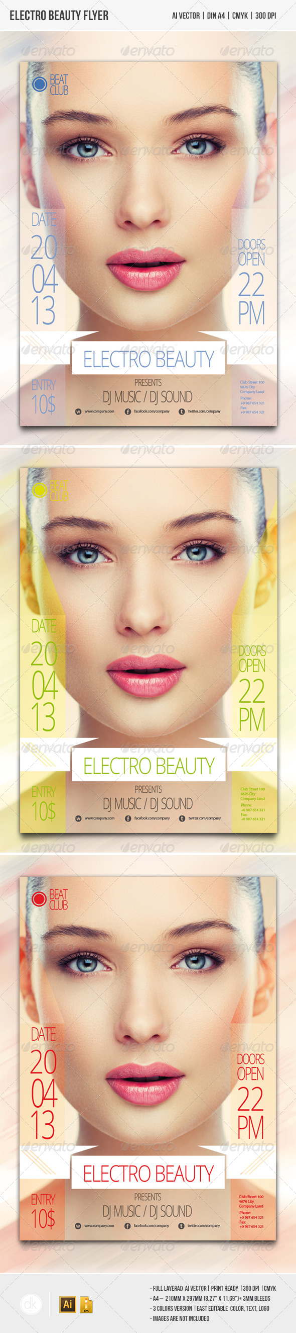 GraphicRiver Electro Beauty Flyer 4340494