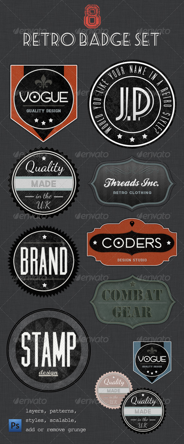 Retro Badges - Faded Vintage Labels - Badges & Stickers Web Elements
