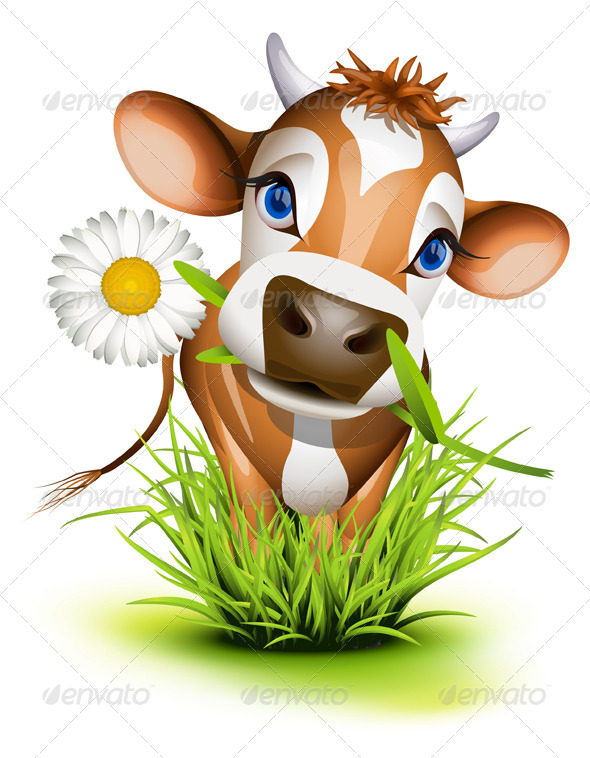 Jersey Cow in Grass - Animals Characters
