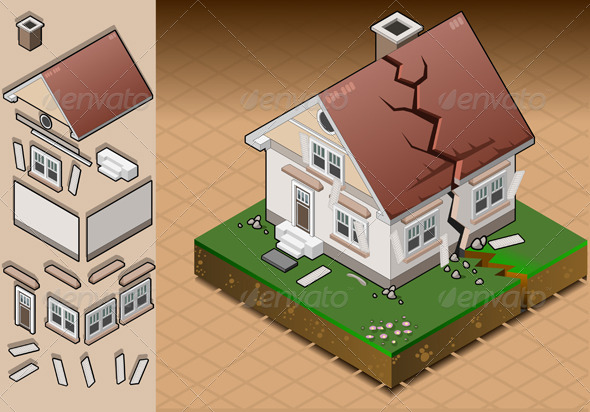 GraphicRiver Isometric House Hit by Earthquake 4341703