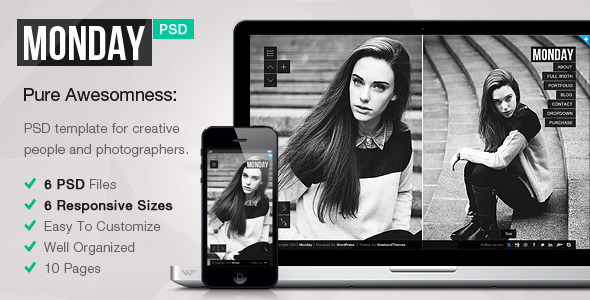 ThemeForest MONDAY Responsive PSD Template 4341786