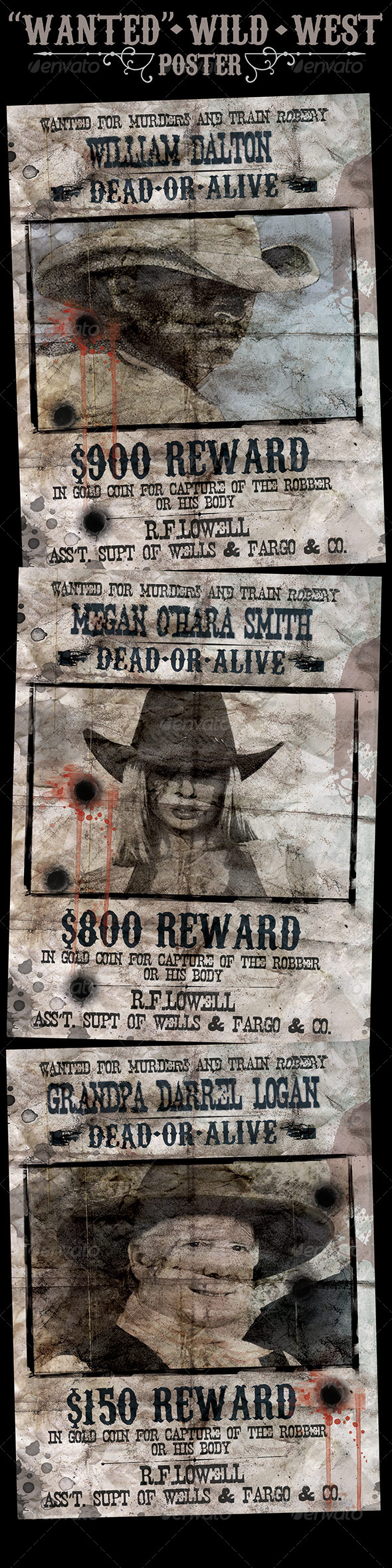"""Wanted"" Poster - Wild West Style - Flyers Print Templates"