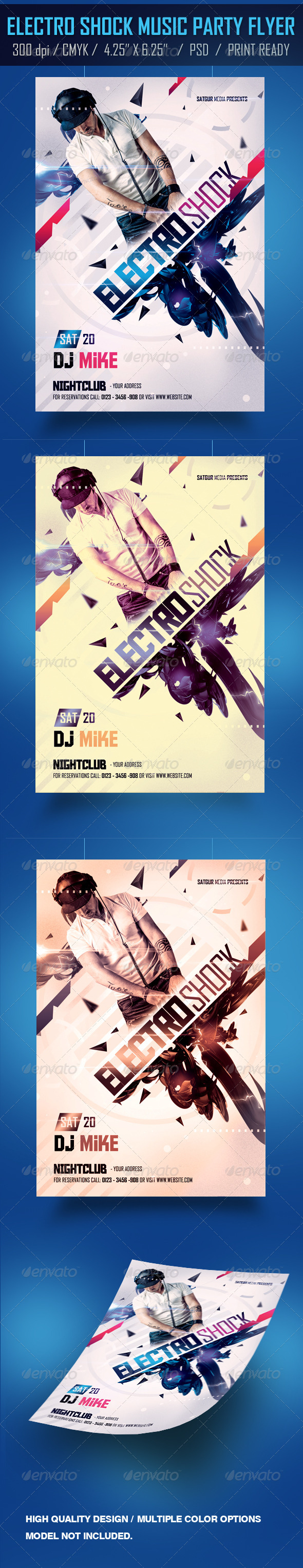 GraphicRiver Electro Shock Music Party Flyer 4180797