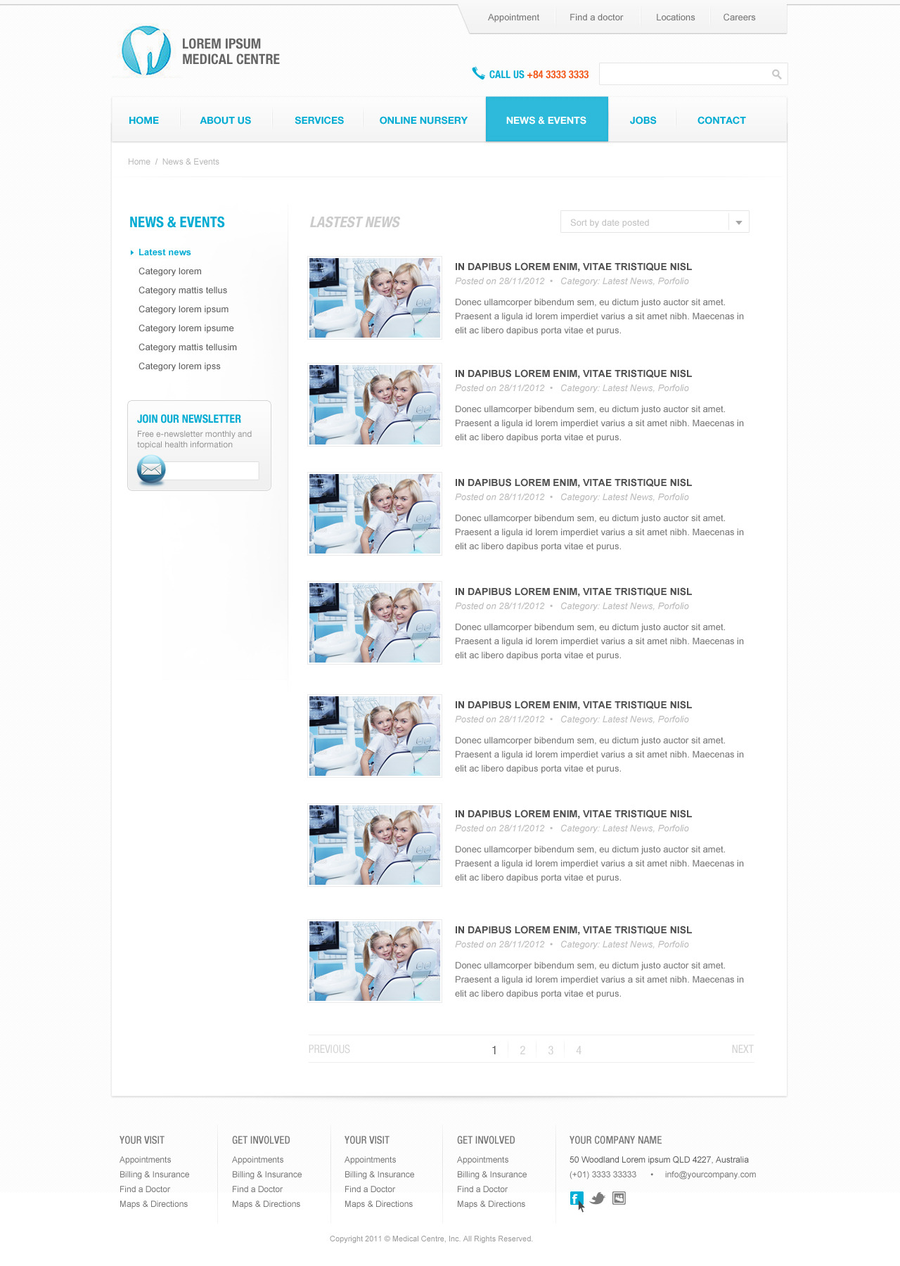 eBlue Medical Dentist Site Template