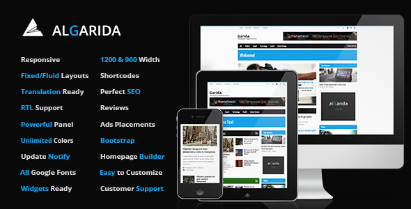 Algarida Responsive Wordpress News And Magazine - News / Editorial Blog / Magazine