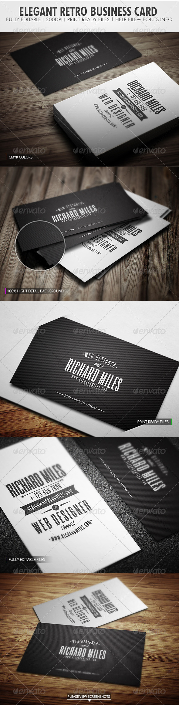GraphicRiver Elegant Retro Business Card 4225249