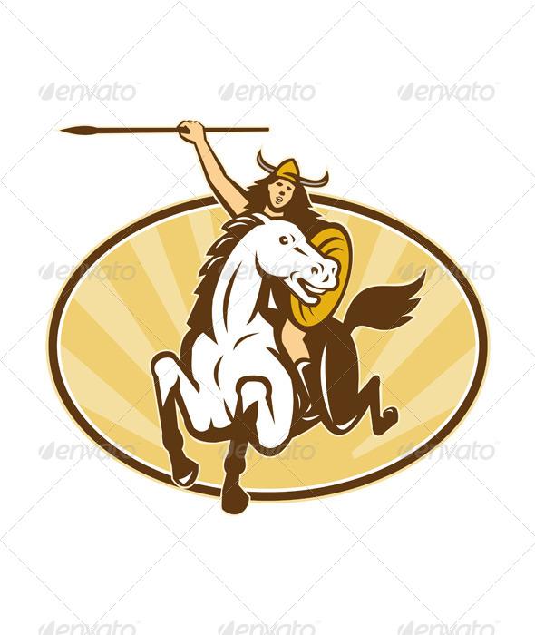 GraphicRiver Valkyrie Riding Horse Retro 4344972