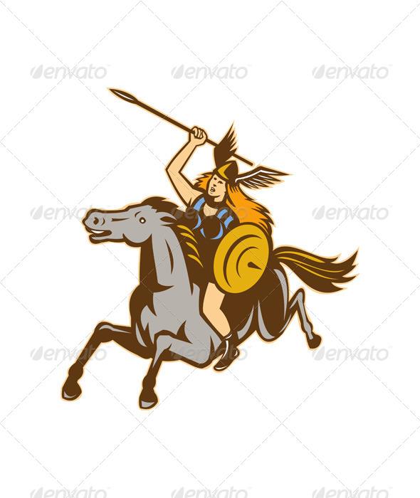 GraphicRiver Valkyrie Riding Horse Retro 4344980