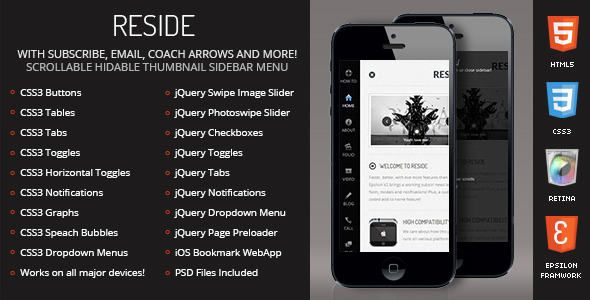 Reside Mobile Retina | HTML5 & CSS3 And iWebApp - Mobile Site Templates