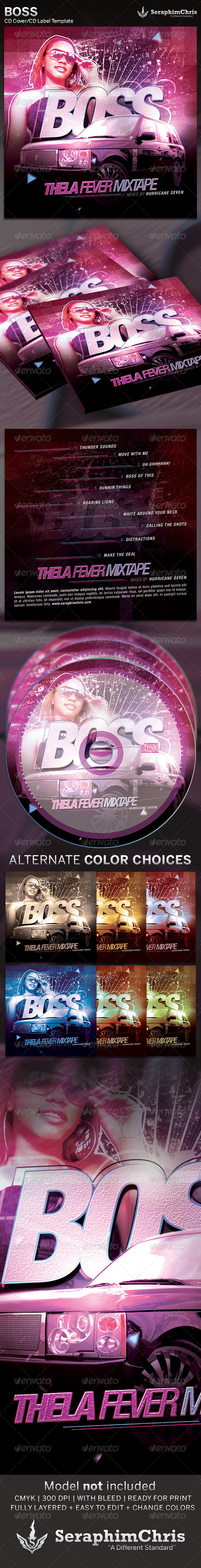 Boss: CD Cover Artwork Template - CD & DVD artwork Print Templates