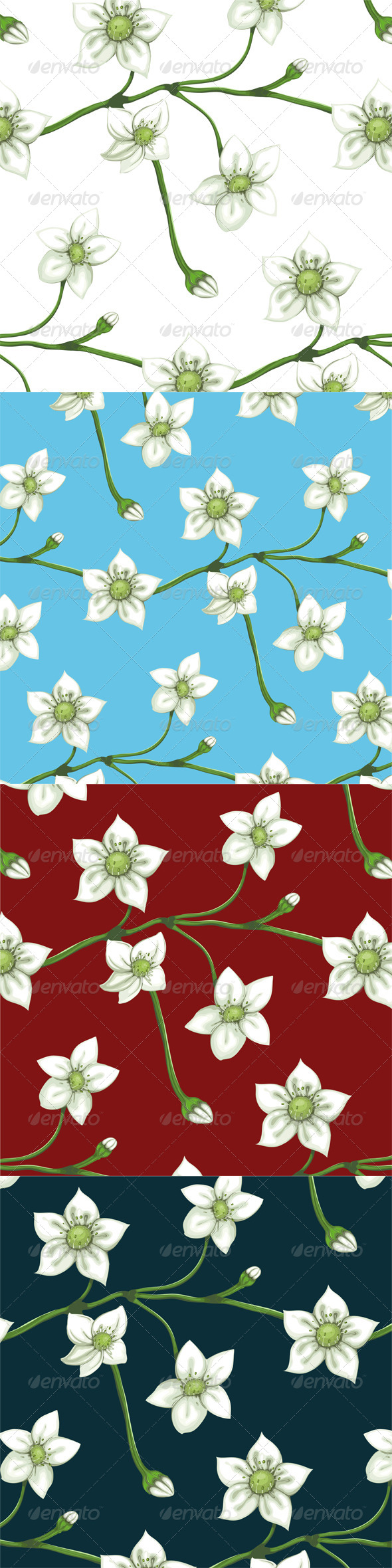 GraphicRiver White Flowers on Twig Seamless Pattern 4350210