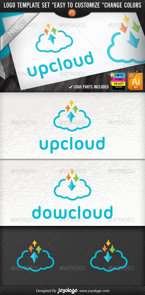 GraphicRiver Pixel Arrows Storage Up Cloud Logo Template 4350319