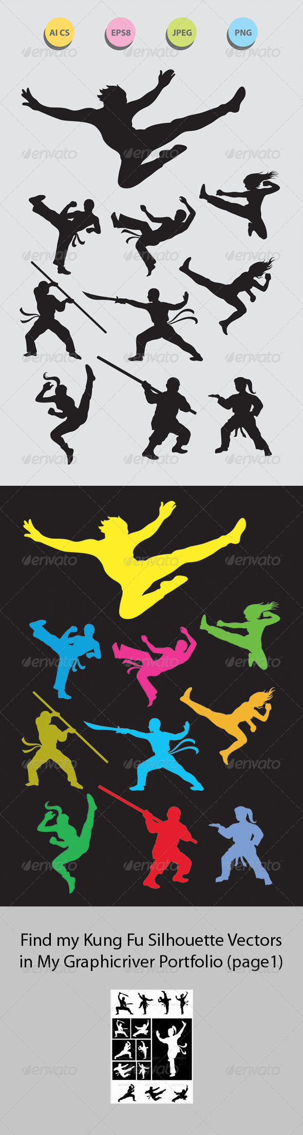 GraphicRiver Martial Art Silhouettes 4350779