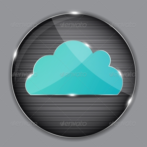 GraphicRiver Vector Glass Button with Cloud Icon 4351223