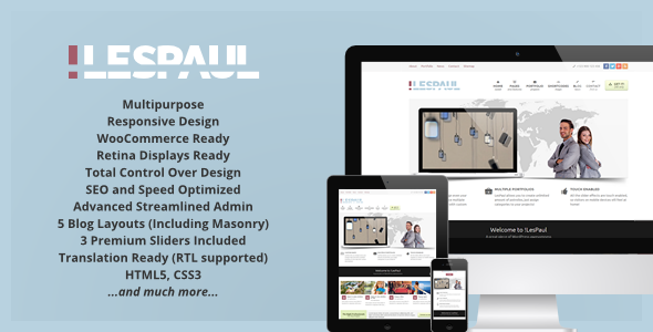 !LesPaul - Retina Responsive WordPress Theme - Corporate WordPress