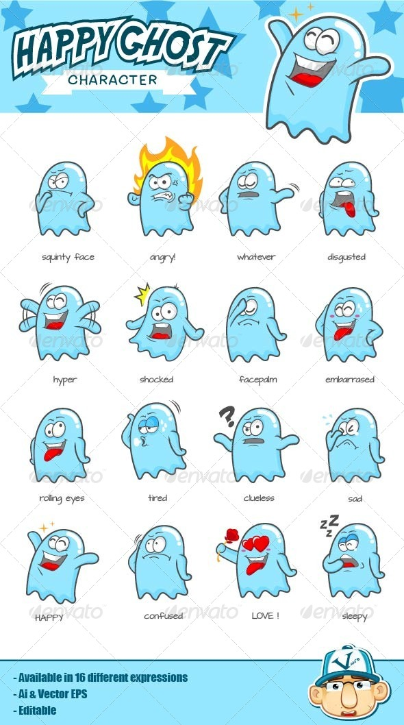 GraphicRiver Happy Ghost Character 4351855