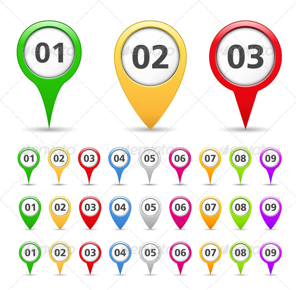 GraphicRiver Map Markers with Numbers 4352130