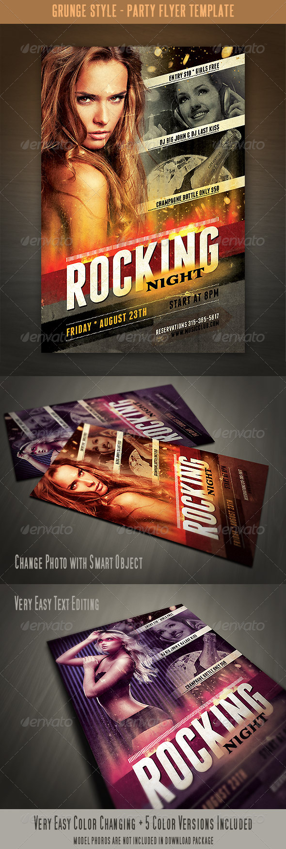 Grunge Style Flyer Template - Clubs & Parties Events