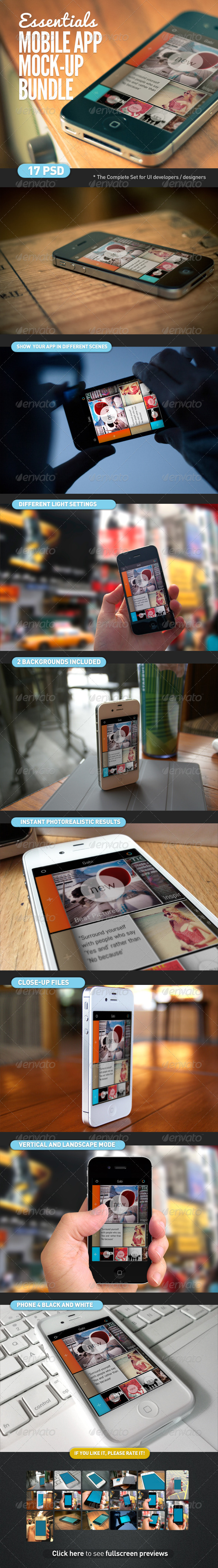GraphicRiver Mobile App Screen Mock-Up Essentials Bundle 4354649