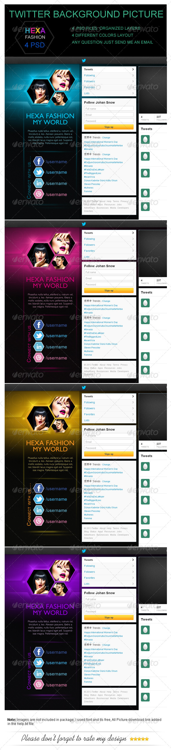 GraphicRiver Hexa Fashion Twitter Background Picture 4354700