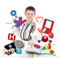 Child Doctor with Health Icons on White - PhotoDune Item for Sale