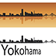 Yokohama Skyline in Orange Background - GraphicRiver Item for Sale