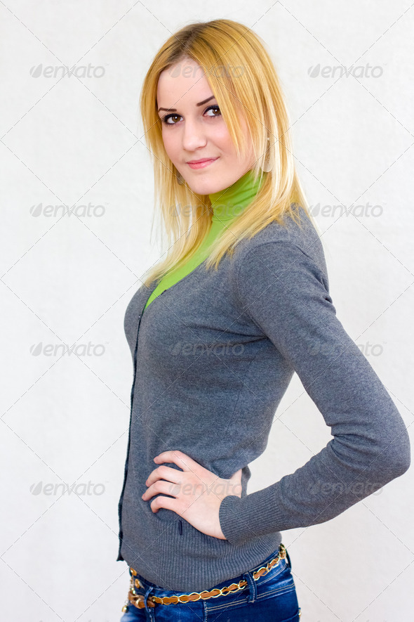 lovely blonde smiling girl with long hair - Stock Photo - Images