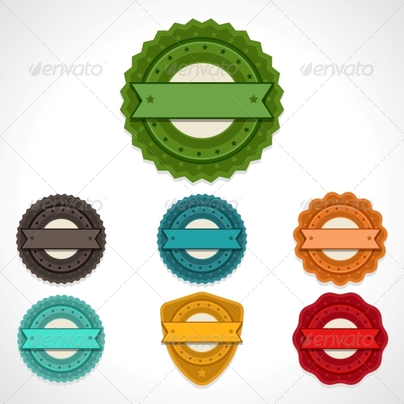 GraphicRiver Set of Vector Labels Badges and Ribbons 4358275
