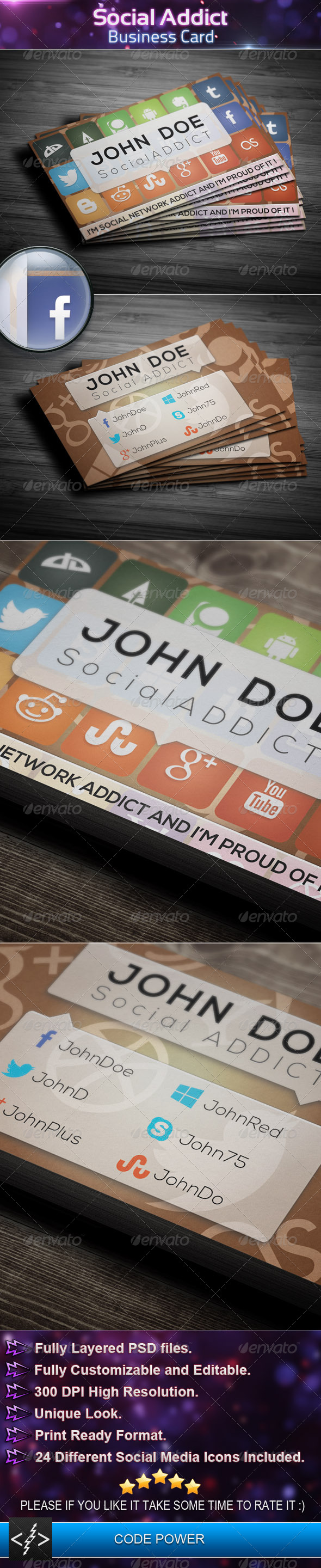 GraphicRiver Social Addict Business Card 4359487