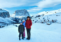 Morning winter Gardena Pass  in Dolomites and family. - PhotoDune Item for Sale
