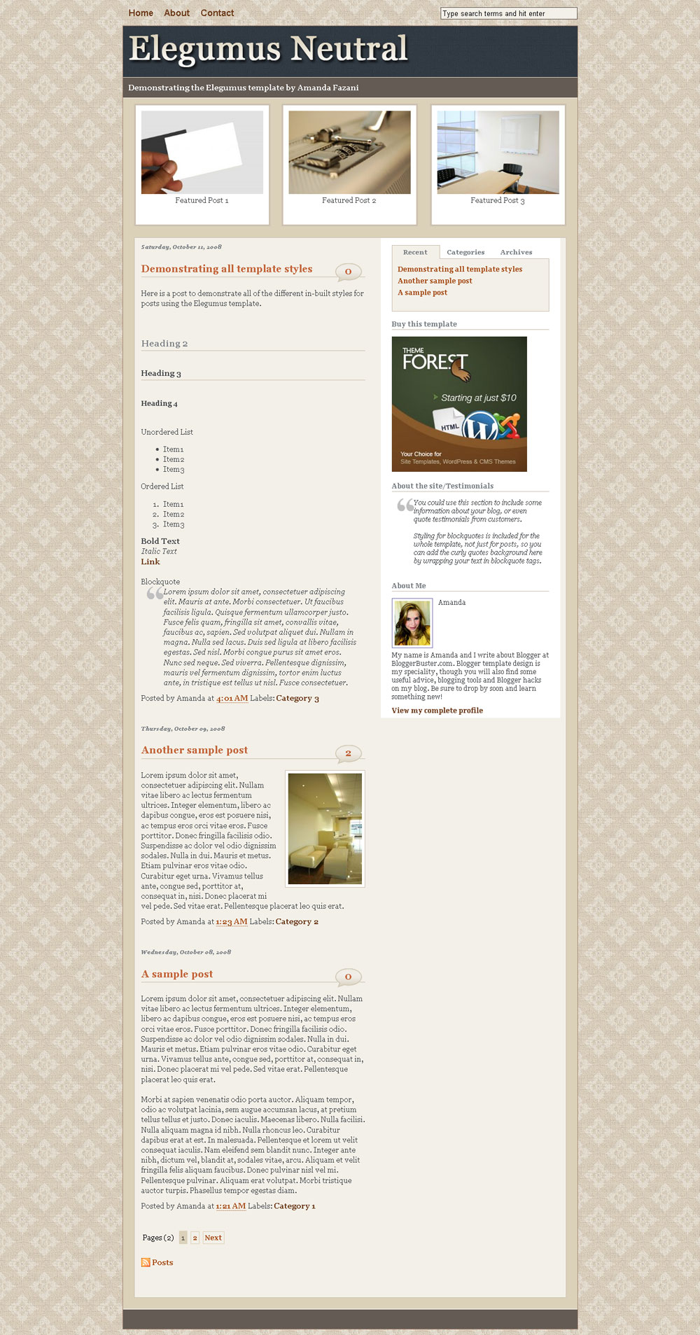 "Elegumus Business Theme Package for Blogger - Viewing the home page of the Elegumus Neutral template, which includes a ""Featured"" section for widgets beneath the header."