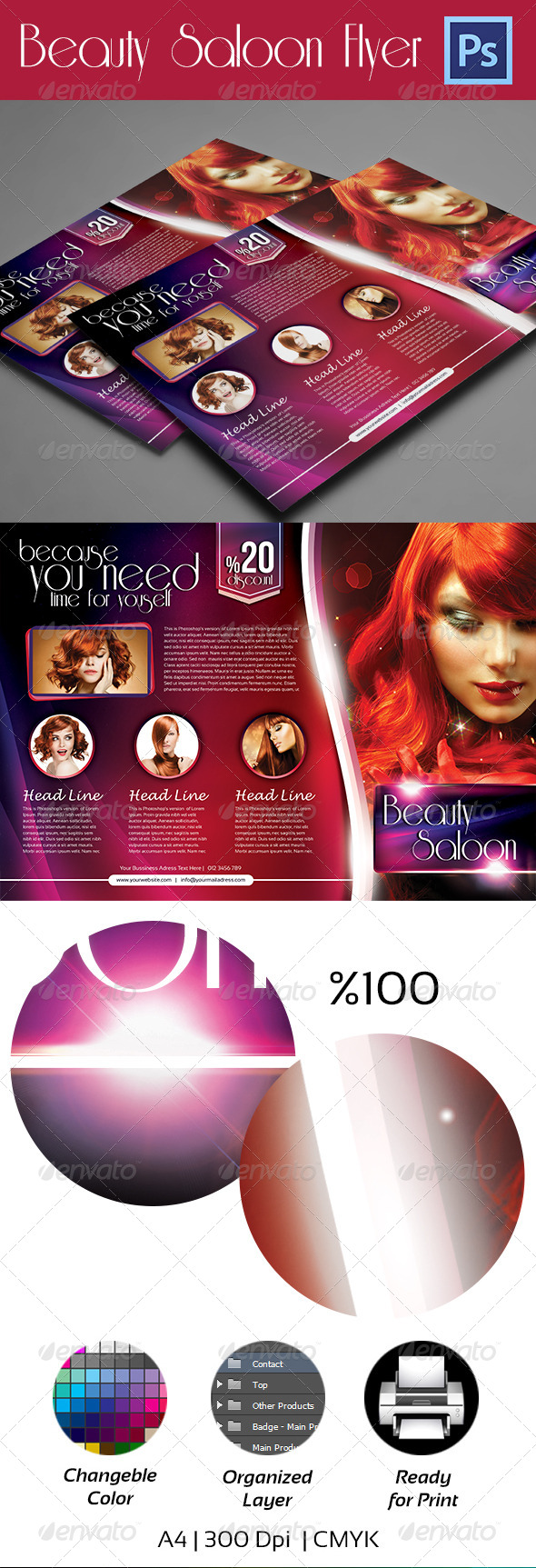 GraphicRiver Beauty Salon Flyer A4 4225242