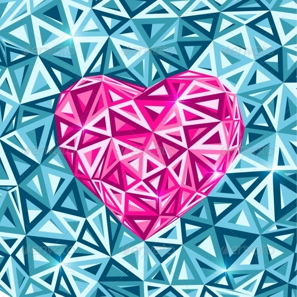 GraphicRiver Pink Abstract Valentines Day Heart 4360341